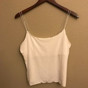 Gap off white cropped tank with shelfbra